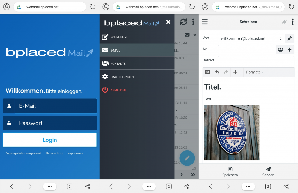 Mobiles Webmail auf dem Smartphone