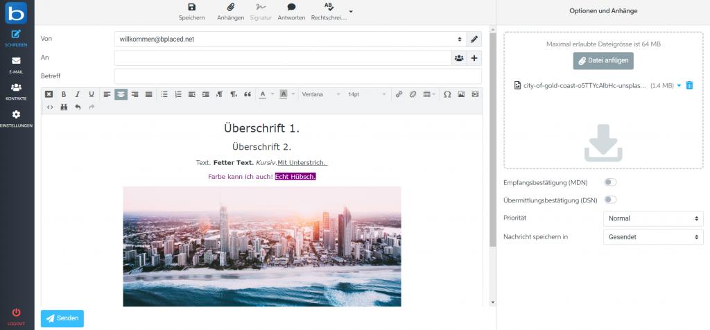 Neue Webmail Oberfläche