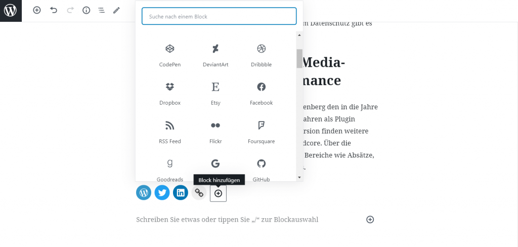 Verfügbare Social-Media-Icons der neuen Block-Funktion